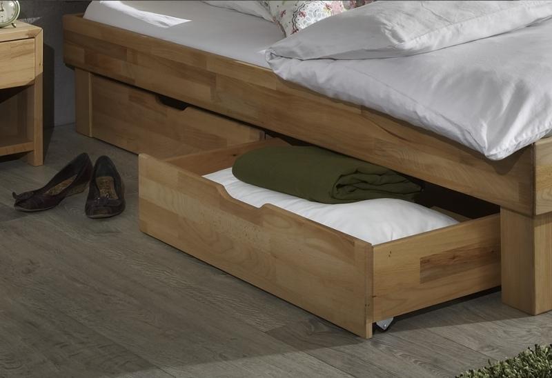 140x200 Bett Futonbett Holzbett mit Bettkasten Kernbuche Massiv Jud140E+BK geölt