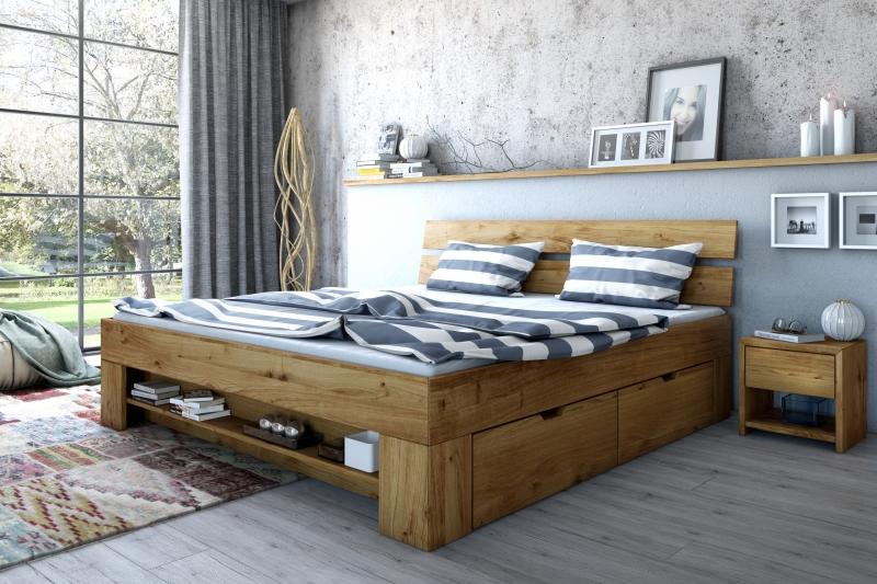140x200 Bett Futonbett Holzbett mit Bettkasten Wildeiche Massiv Sar140E geölt