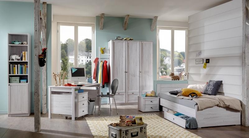 8tlg. Jugendzimmer Kinderzimmer Komplettset Filou Weißeiche