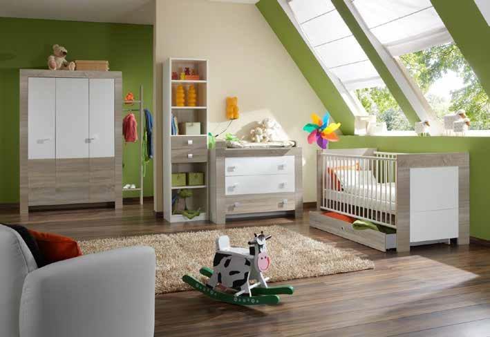 6tlg. Babyzimmer Kinderzimmer Komplettset Kira Eiche sägerau/Weiß