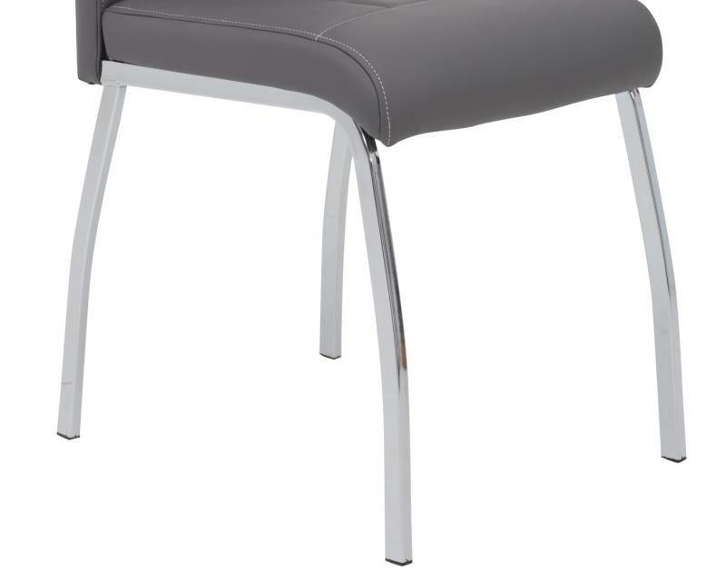 2 Stühle=Set Küchen-Stuhl, Esszimmer-Stuhl Andrea S 52 Kunstleder Grau