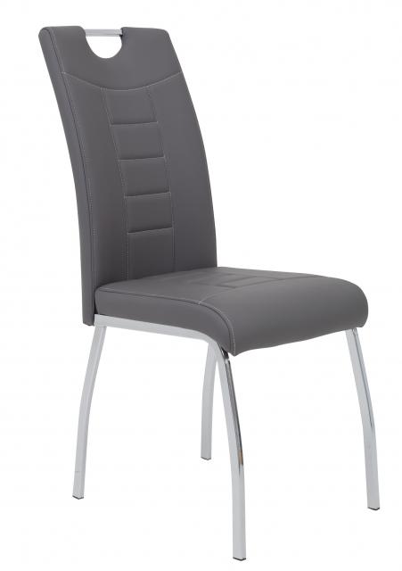 8 Stühle=Set Küchen-Stuhl, Esszimmer-Stuhl Andrea S 52 Kunstleder Grau