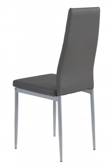 8 Stühle=Set Vierfussstuhl Stuhl Simone S 52 Kunstleder Grau