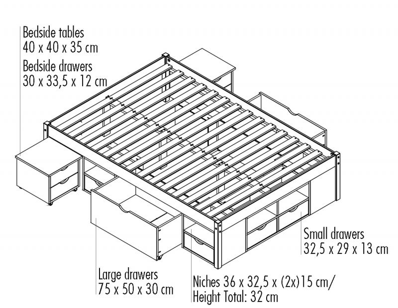 160x200 Bett Funktionbett Jugendbett Claas Massivholz Natur Lackiert