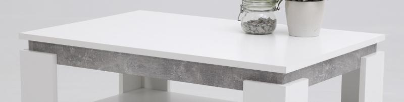 Couchtisch Stubentisch Tisch Tim II 13/04 Dekor Weiß Beton