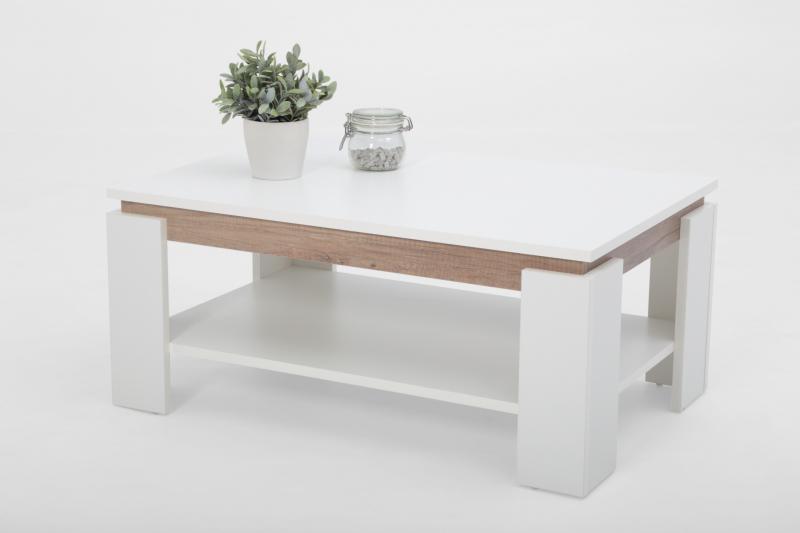 Couchtisch Stubentisch Tisch Tim II 13/22 Dekor Weiß Wildeiche