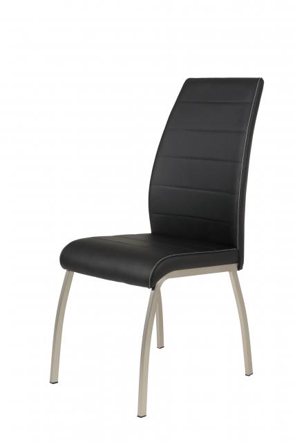 2 Stühle=Set Küchenstuhl Esszimmerstuhl Stuhl Amber 5 Kunstleder Schwarz