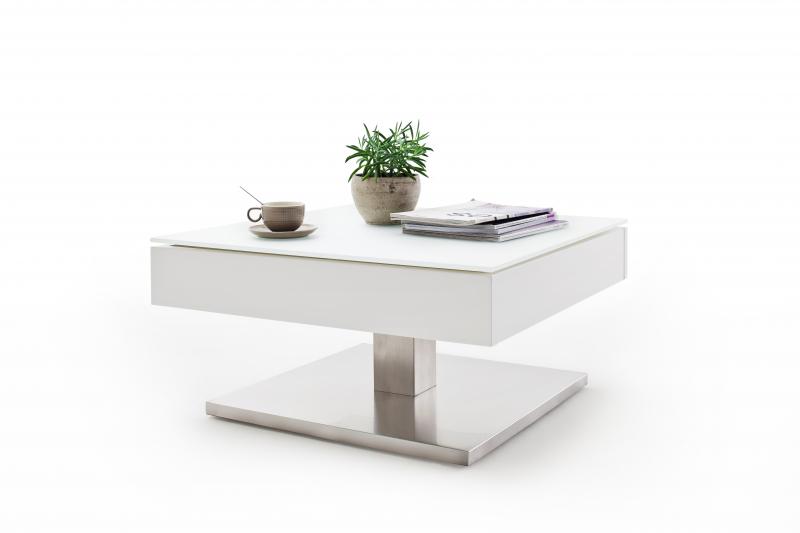 Couchtisch Beistelltisch Tisch Wohnzimmertisch Mariko Weiß Glas Drehbar