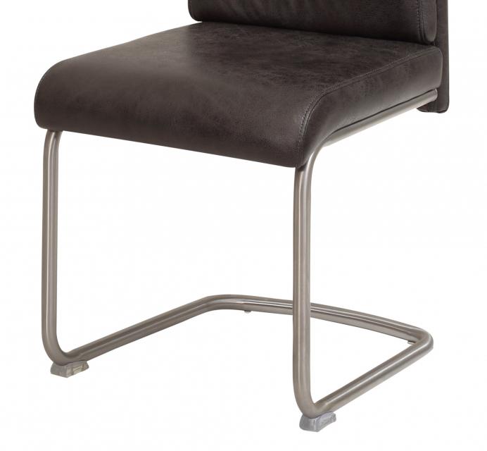 6 Freischwinger=Set Schwing - Stuhl Küchenstuhl Paula 46 Stoff Anthrazit Edelstahl