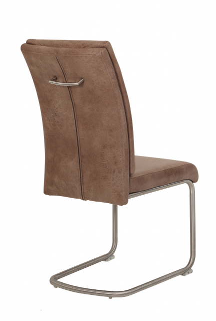 8 Freischwinger=Set Schwing - Stuhl Küchenstuhl Paula 72 Stoff Schlamm Edelstahl