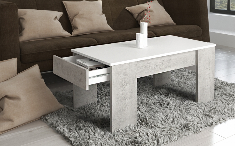 99175BW3 / Couchtisch Tisch Beistelltisch Stubdentisch Beton Weiß Nachbildung mit Schublade