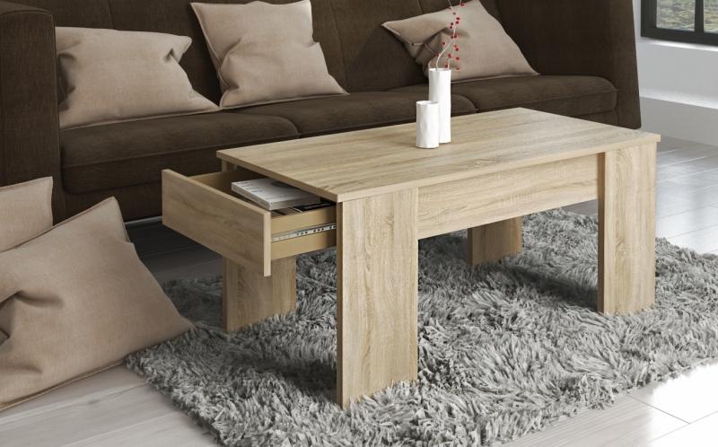 99175SE3 / Couchtisch Tisch Beistelltisch Stubdentisch Eiche Sonoma Nachbildung mit Schublade