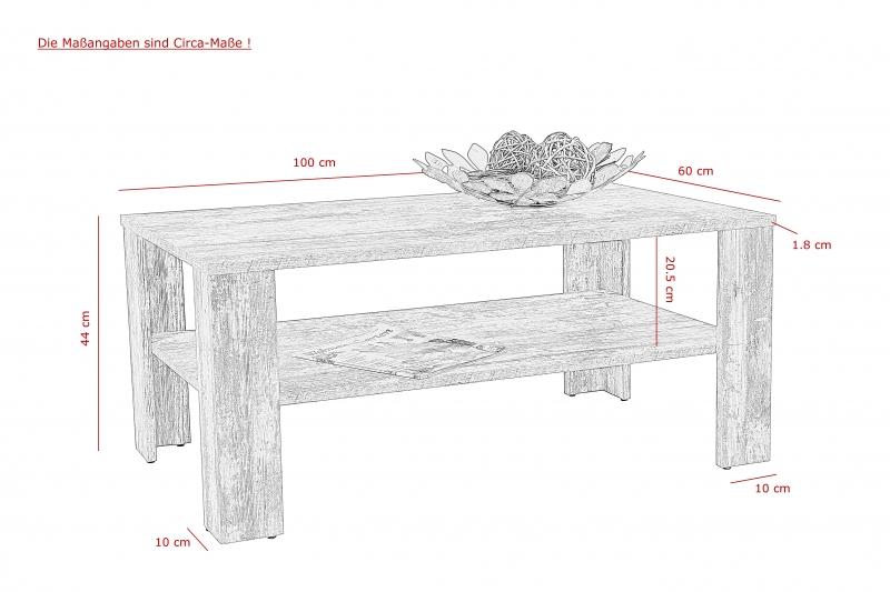 Couchtisch Stuben-Tisch Luca 68 Vintage Eiche Rechteck