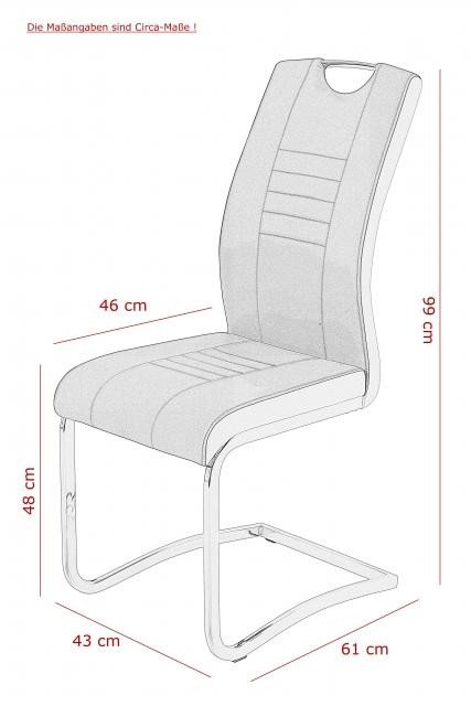 6 Freischwinger=Set Schwinger Stuhl Tabea II 50/03 Grau Schwarz Microfaser Kunstleder