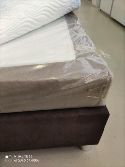 Boxspringbett LUZERN 180x200 Stoffbezug Typ B 20134 Anthrazit+ Typ B 20136 Grau / Box + MT Typ B (H3) Kopfteil Nr.1 / Fuß Nr. 3 / 6 Cm Evosoft Topper