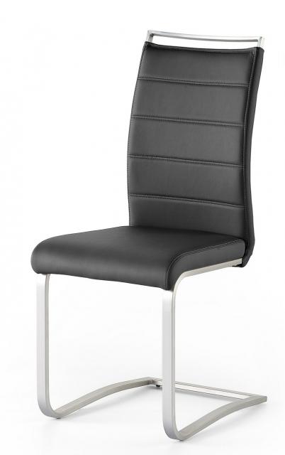 8 Freischwinger=Set Schwing - Stuhl PESCARA Kunstleder Schwarz PESE10SX