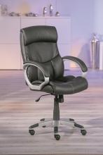 Bürostuhl, Drehstuhl, Schreibtischstuhl mit Armlehnen Bertoni Kunstleder Schwarz, Verstellbar
