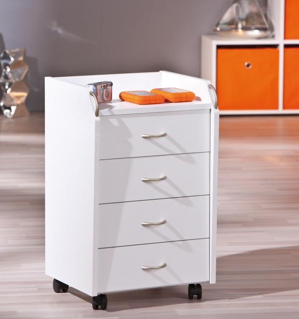 Rollcontainer, Büro-Container Pronti Weiß, 4 Schubladen