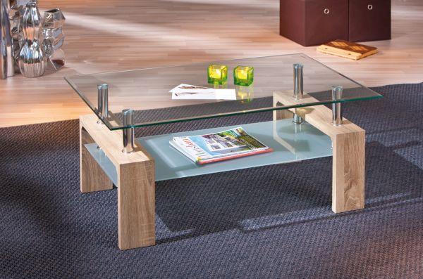 Couchtisch Stubentisch Tisch Loana Eiche Sonoma Sicherheits-Glas
