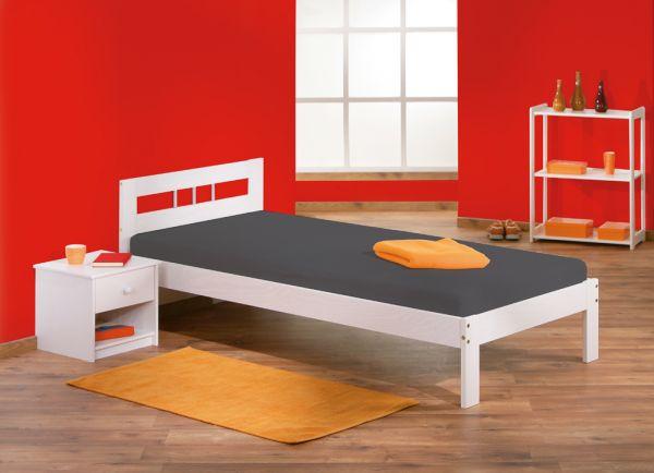 90x200 Einzelbett, Bett, Kinderbett, Gästebett Fana Kiefer Massiv Weiß lackiert