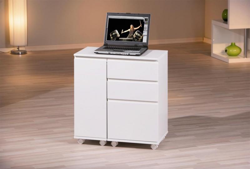 Schreibtisch Laptop-Office Hochglanz Weiß, Ausziehbar