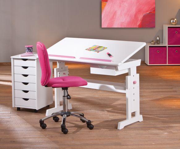 Lerntisch, Schreibtisch, Kindertisch Baru Kiefer Massiv Weiß