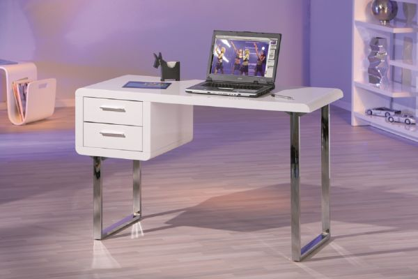 Schreibtisch, Arbeitstisch, Bürotisch, Computertisch Claude MDF Hochglanz Weiß
