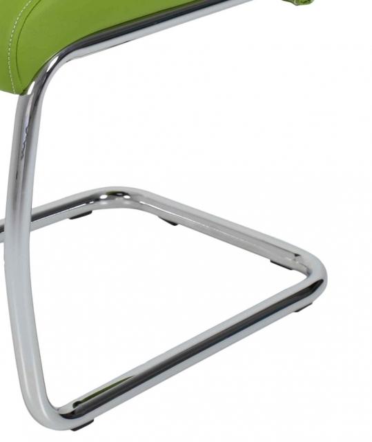 4 Freischwinger=Set Schwinger Stuhl Flora41 Kunstleder Apfelgrün
