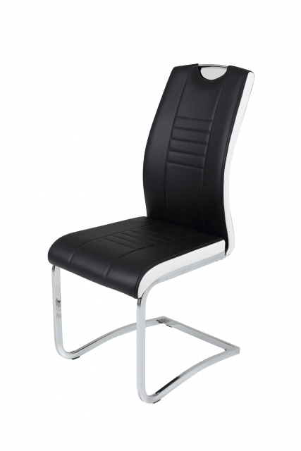 4 Freischwinger=Set Schwingstuhl Stuhl Tabea03/13 Schwarz Weiß