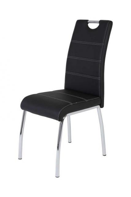 8 Stühle=Set Vierfussstuhl Stuhl Susi S 03 Kunstleder schwarz