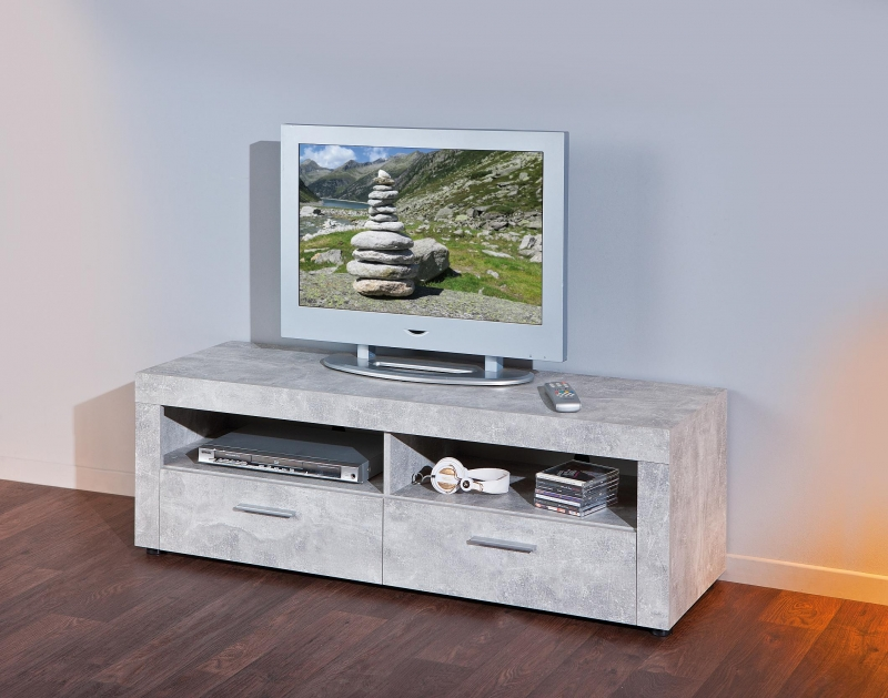 TV Rack Phono TV-Regal TV Konsole Beton6.1