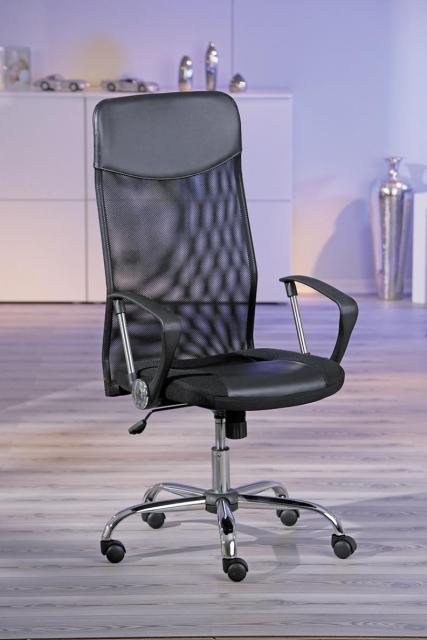 Bürostuhl, Drehstuhl, Schreibtischstuhl mit Armlehnen Torino Kunstleder schwarz Netz