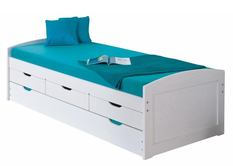 90x200 Funktionsbett, Bett, Spielbett, Gästebett Ulli Kiefer Weiß lackiert
