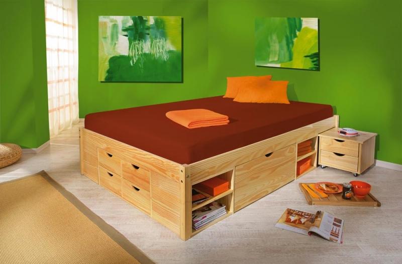 180x200 Bett Funktionsbett Schlafzimmer Claas Massivholz Kiefer klar
