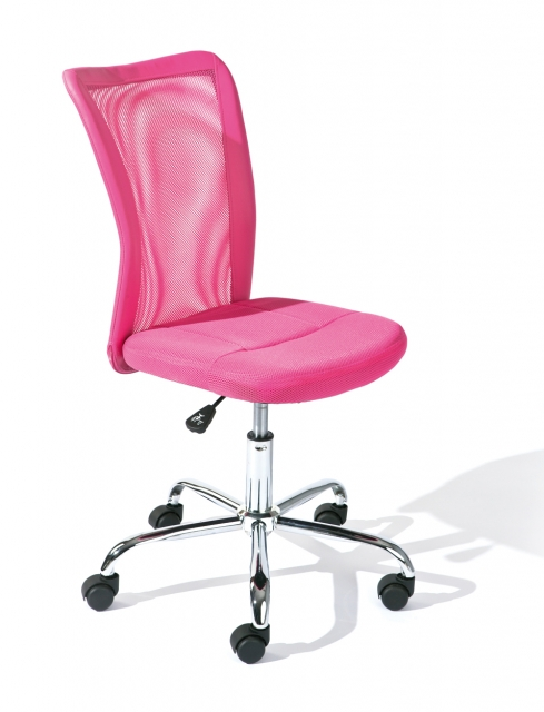 Drehstuhl, Bürostuhl, Kinder-Stuhl Bonnie Mesh Pink mit Rollen
