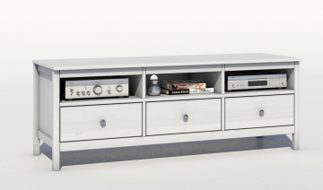 TV Rack Phono TV-Regal TV Konsole F029E Kiefer Massiv Weiß