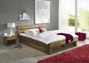 140x200 Bett Futonbett Holzbett mit Bettkasten Wildeiche Massiv Jen140E+BK geölt