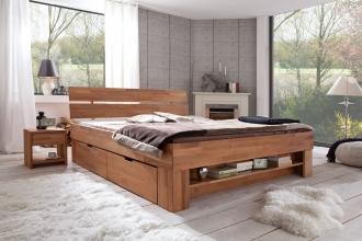 140x200 Bett Futonbett Holzbett mit Bettkasten Kernbuche Massiv Sof140E geölt