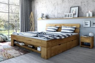 180x200 Bett Futonbett Holzbett mit Bettkasten Wildeiche Massiv Sar180E geölt