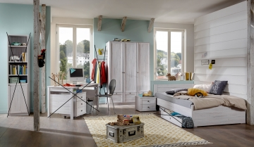 3tlg. Jugendzimmer Kinderzimmer Komplettset Filou Weißeiche