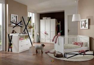 3tlg. Babyzimmer Kinderzimmer Komplettset Filou Weiß