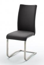 6 Freischwinger=Set Schwing - Stuhl ARCO2ELS Schwarz ECHT LEDER