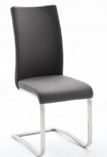 2 Freischwinger=Set Schwing - Stuhl ARCO2ELG Grau ECHT LEDER