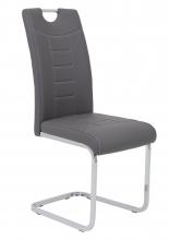 4 Freischwinger=Set Schwing - Stuhl Ruby 52 Kunstleder Grau