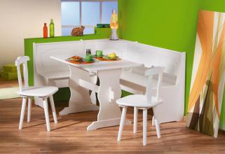 2 Stühle + Tisch + Eckbank = Set Donau Massivholz Weiß Lackiert