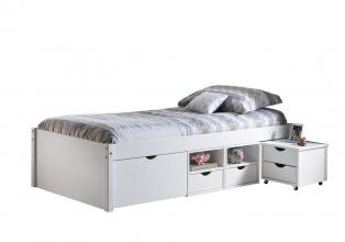 90x200 Bett Einzelbett Holzbett Funktionsbett Till Single Massivholz Weiß Lackiert
