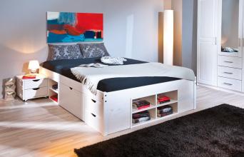 140x200 Bett Doppelbett Holzbett Funktionsbett Till Massivholz Weiß Lackiert
