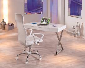 Schreibtisch Arbeitstisch Bürotisch Computertisch Grace Metall Verchromt MDF Hochglanz Weiß