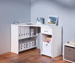 Schreibtisch, Arbeitstisch, Bürotisch, Computertisch Grossi Melaminbeschichtet Weiß