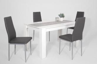 5 tlg. Essgruppe Tisch Stühle Lilo G 13/52 Weiß Grau